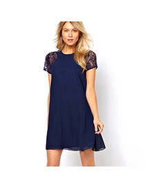 Fashion Navy Color Lace Rose Flower Decorated Short Sleeve Pure Color Dress