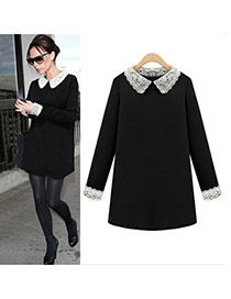 Fashion Black Lace Collar Decorated Long Sleeve Design Short Dress