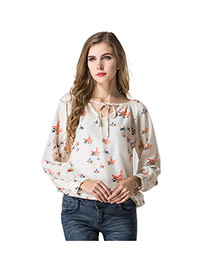 Trendy Cream-colored V Neckline Decorated Simple Design Long Sleeve Shirt