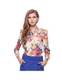 Fashion Pink Flower Pattern Decorated Simple Design Long Sleeve Shirt