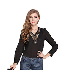 Fashion Black V Shape Neckline Decorated Simple Design Long Sleeve Shirt