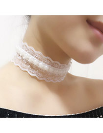Elegant White Pearl Weaving Decorated Lace Chain Choker