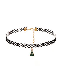 Lovely Green Christmas Trees Shape Pendant Decorated Hollow Out Choker