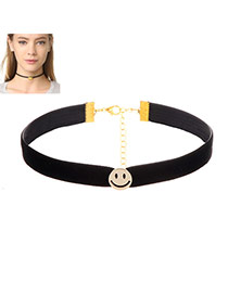 Lovely Black Smiling Face Shape Decorated Simple Choker