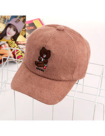 Trendy Pink Bear Decorated Simple Design Pure Color Baseketball Hat