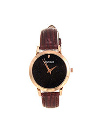 Fashion Claret-red Shimmering Powder Decorated Pure Color Strap Watch