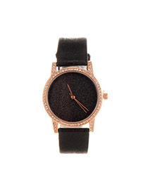 Delicate Black Shimmering Powder Decorated Pure Color Strap Watch