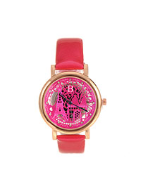 Delicate Red Hollow Out Eiffel Tower Shape Pattern Decorated Simple Watch
