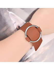 Exaggerated Brown+silver Color Round Button Shape Decorated Pure Color Choker