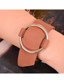 Exaggerated Brown+gold Color Round Button Shape Decorated Pure Color Choker