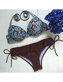 Vintage Brown Flower Pattern Decorated Simple Design Pure Color Bikini