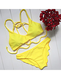 Fashion Yellow Wave Edge Decorated Simple Design Pure Color Design