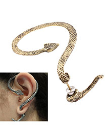 Personality Bronze Metal Snake Decorated Pure Color Earring