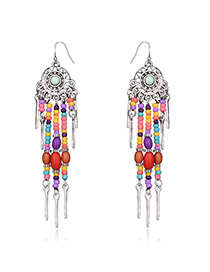 Vintage Multi-color Bead& Strip Shape Pendant Decorated Round Shape Earrings
