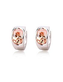 Fashion Brown+silver Color Diamond Decorated Simple Desgin Pure Color Earrings