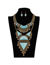 Retro Blue+anti-gold Color Multielement Shape Decorated Simple Design Jewelry Sets