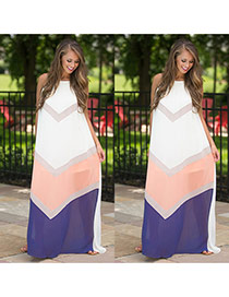 Sweet Multi-color Geometric Color Matching Decorated Sleeveless Dress