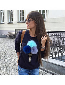 Cute Navy Blue Fuzzy Ball&ice Cream Shape Decorated Long Sleeve Coat
