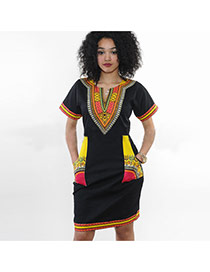 Sexy Black+yellow Geometric Shape Pattern Decorated Short Sleeve Dress