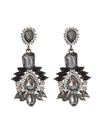 Elegant Black Geometric Shape Diamond Decorated Simple Earrings