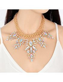 Exaggerated Multi-color+gold Color Geometric Shape Diamond Decorated Short Chain Simple Necklace