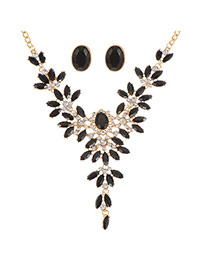Fashion Black Oval Shape Diamond Decorated Hollow Out Simple Jewelry Sets