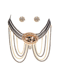 Trendy Black Hollow Out Round Shape Decorated Multi-layer Jewelry Sets