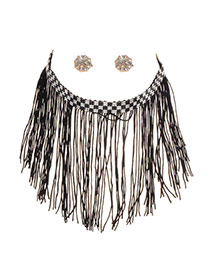 Trendy Black Long Tassel Decorated Short Chain Simple Jewelry Sets