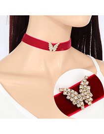Fashion Red Diamond& Butterfly Shape Decorated Simple Design Choker