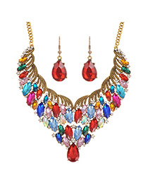 Fashion Multi-color Waterdrop Shape Diamond Decorated Short Chain Jewerly Sets