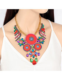 Vintage Multi-color Round Shape Decorated Hollow Out Necklace