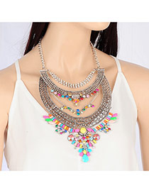 Fashion Multi-color Geometric Shape Diamond Decorated Hollow Out Necklace
