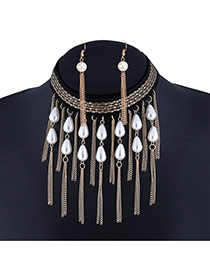 Trendy Golden Color Tassel& Pearls Pendant Decorated Simple Design Jewelry Sets
