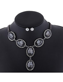 Trendy Black Oval Shape Diamond Decorated Short Chain Jewelry Sets