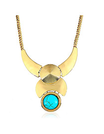 Fashion Blue+golden Color Round Shape Diamond Decorated Irregular Shape Necklace