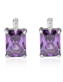 Trendy Purple Square Shape Diamond Decorated Simple Design Earrings