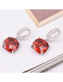 Sweet Red Square Shape Diamond Decorated Simple Design Earrings