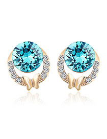 Elegant Blue Round Shape Diamond Hollow Out Design Earrings