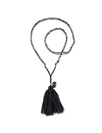 Fashion Blue Tassel&round Shape Pendant Decorated Simple Necklace