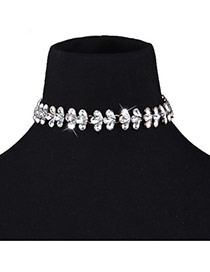 Fashion White Water Drop Shape Diamond Decorated Flower Shape Simple Necklace