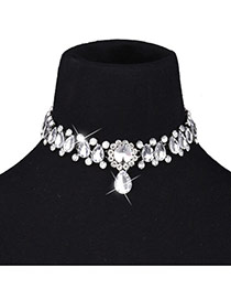 Fashion White Waterdrop Shape Diamond Decorated Short Chain Simple Necklace