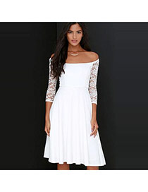 Sexy White Pure Color Design Long Sleeve Hollow Out Package Hip Long Dress