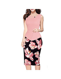 Fashion Pink Painting Flower Pattern Decorated Sleeveless Patchwork Pencil Dress
