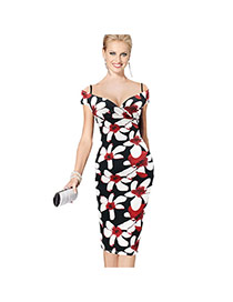Sexy  Flower Pattern Decorated Off-the-shoulder Package Hip Strap Dress