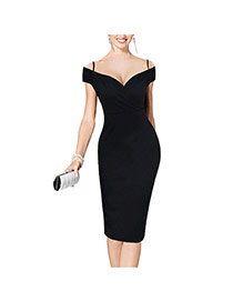 Sexy Black Pure Color Design Off-the-shoulder Package Hip Strap Dress