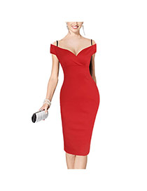 Sexy Red Pure Color Design Off-the-shoulder Package Hip Strap Dress