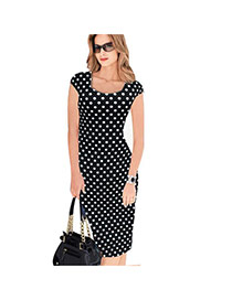 Sexy Black Dots Pattern Decorated Short Sleeve Package Hip Pencil Dress