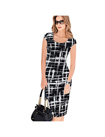 Sexy Black+white Grids Pattern Decorated Short Sleeve Package Hip Pencil Dress