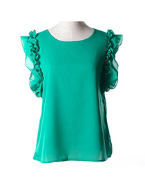 Trendy Green Bowknot Decorated Round Neckline Sleeveless Simple Chiffon Blouse