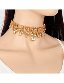 Vintage Champagne Hollow Out Waterdrop Shape Decorated Simple Choker
